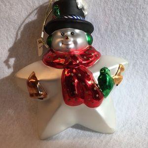"""3/$13 7"""" Glass STAR SNOWMAN Dansk ornament FROSTY"""